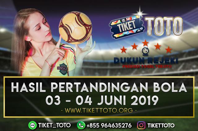 HASIL PERTANDINGAN BOLA TANGGAL 03 – 04 JUNI 2019