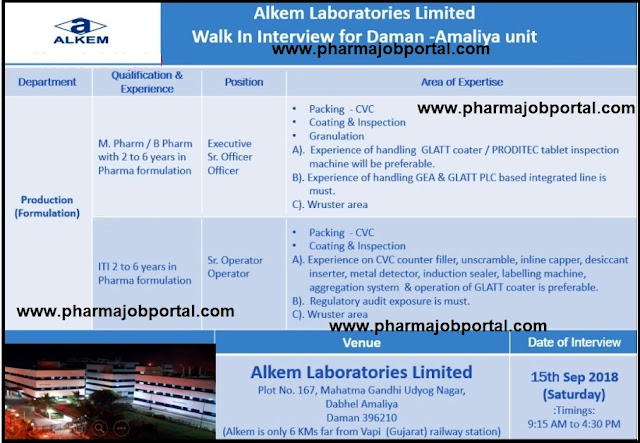 Alkem Laboratories Ltd Walk In Interview at 15  Sep