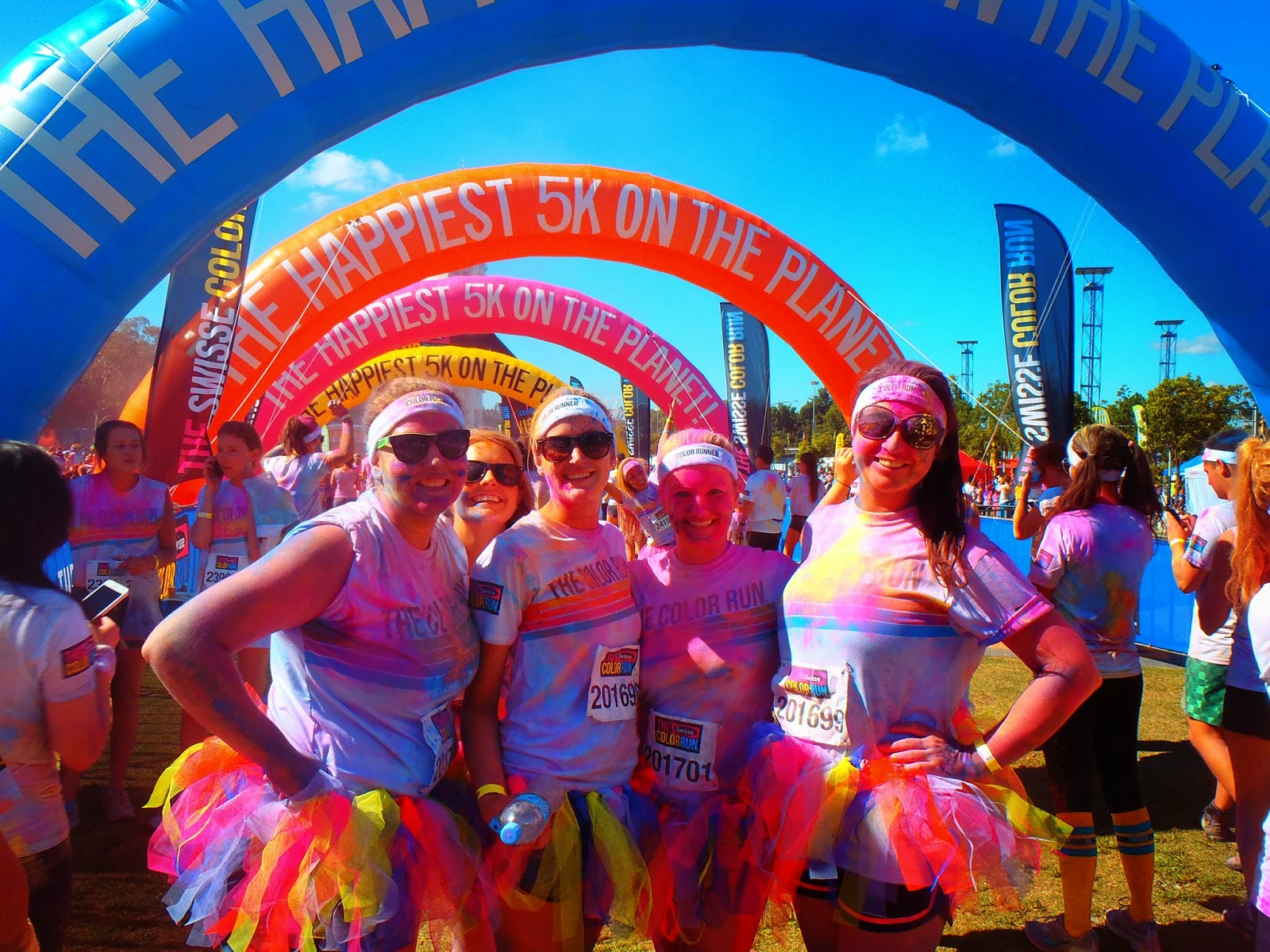 all colourful at the finish line