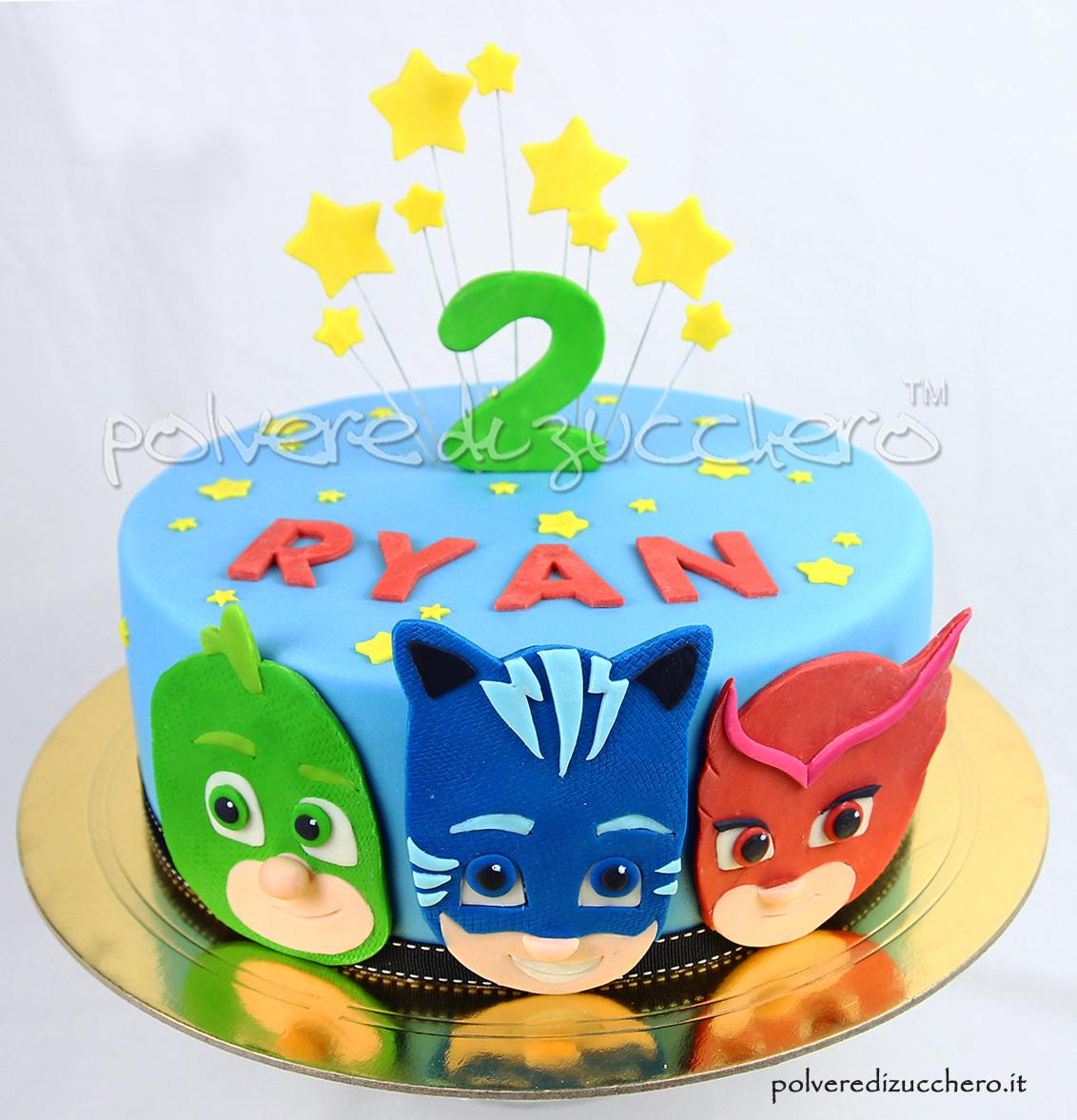 pj masks super pigiamini maschere cake design pasta di zucchero polvere di zucchero torta decorata bambini