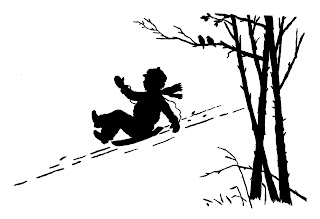 winter sledding boy silhouette image