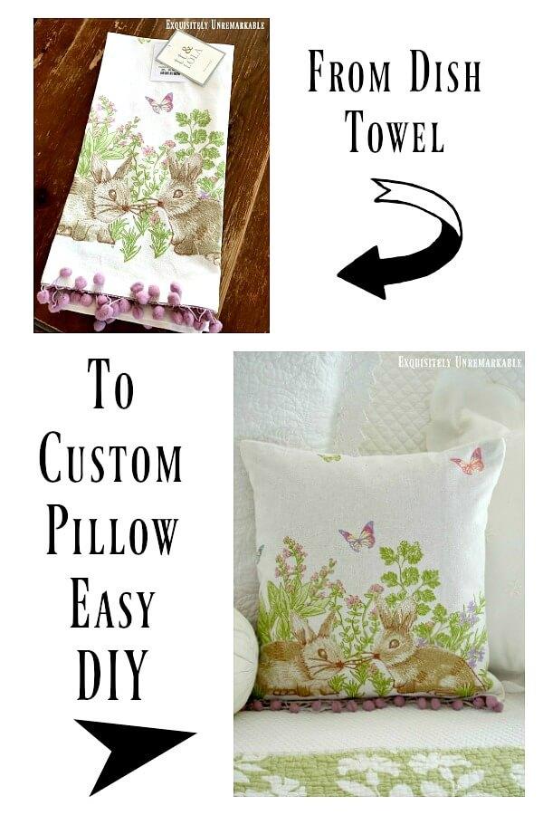 diy dish towel pillow cover