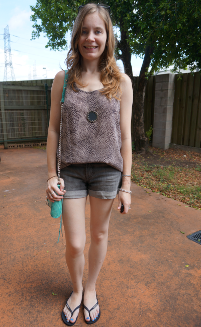 Jeanswest denim shorts printed tank house of harlow sunburst necklace