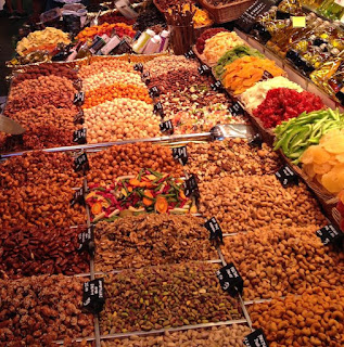 Different spices at the La Boqueria market in Barcelona