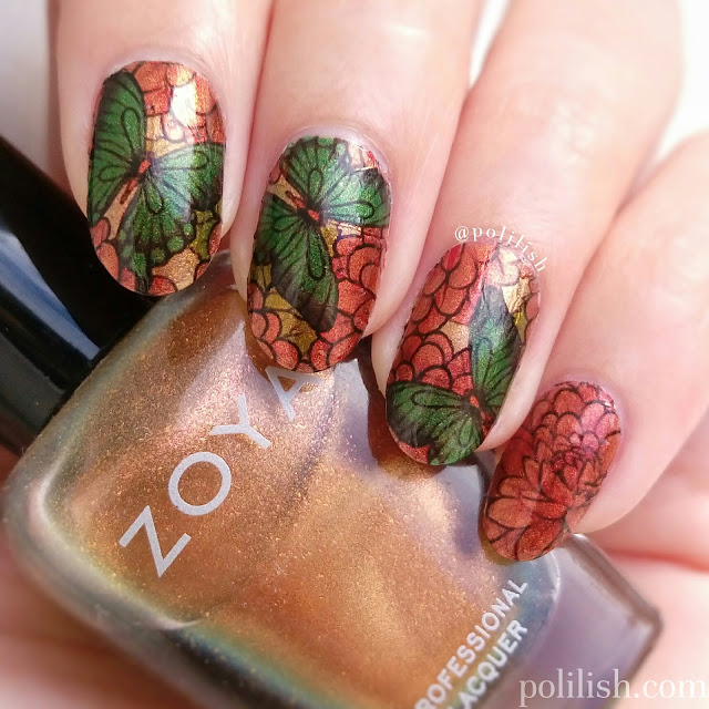 Butterfly nail art with water decals from Born Pretty Store | polilish