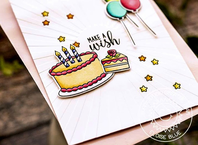 Sunny Studio Stamps: Make A Wish Sunburst Embossing Folder Happy Birthday Card by Eloise Blue