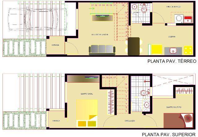 Planta casas de 2 quartos duplex