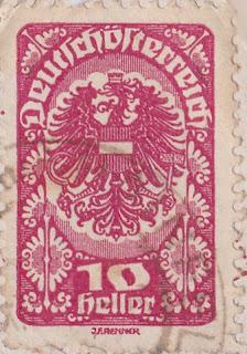 Briefmarke 10 Heller Deutschösterreich, Gestaltung: J.F. Renner.