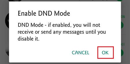 notifikasi pengaktifan dnd mode