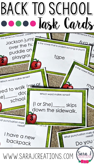 Back to school language arts task cards are perfect for the beginning of the year.  A great way to review concepts and use in an ELA center.