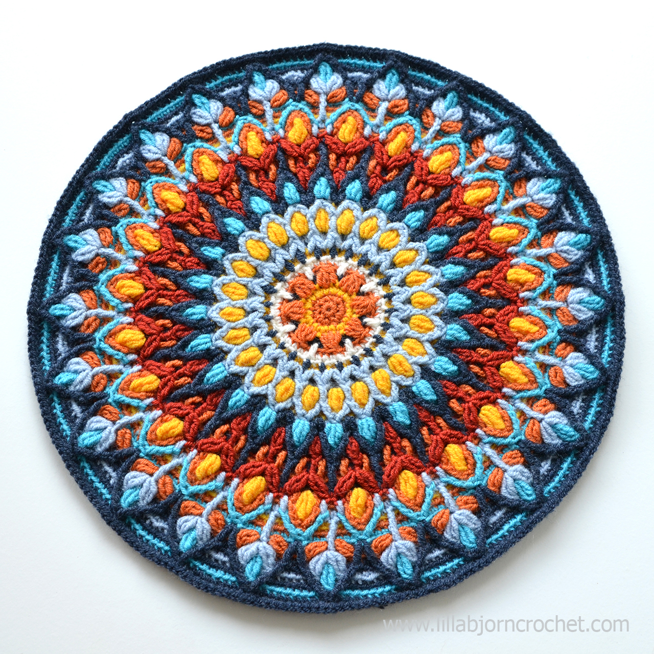 Spanish Mandala was inspired by ceramic handmade plates. Overlay crochet pattern by Lilla Bjorn Crochet