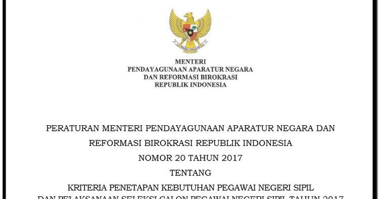 Peraturan Menteri Nomor 20 Tahun 2017 Tentang Kebutuhan Pegawai Negeri Sipil Wiki Education Guruku