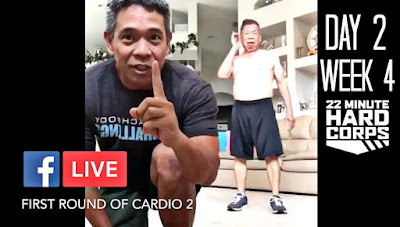 Day 2 Week Four 22 Minute Hard Corps Challenge, 22 Minute Hard Corps Challenge Cardio 2 and Core 1, 22 Minute Hard Corps on Facebook LIVE Video, Beachbody on Demand Free trial, Workout with Facebook LIVE