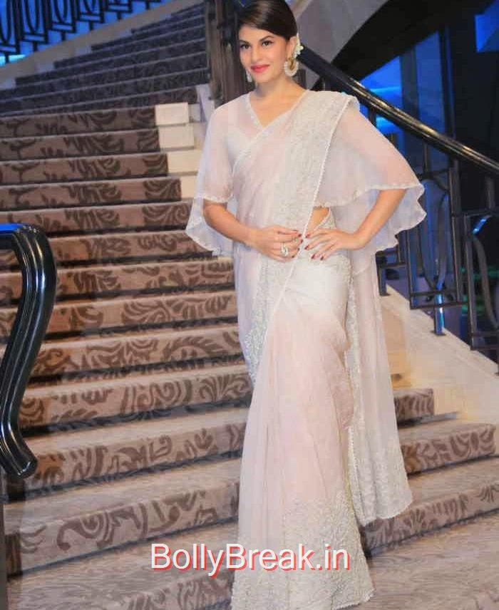 Jacqueline Fernandez images, Jacqueline Fernandez in White Saree at Lakme fashion Week 2015