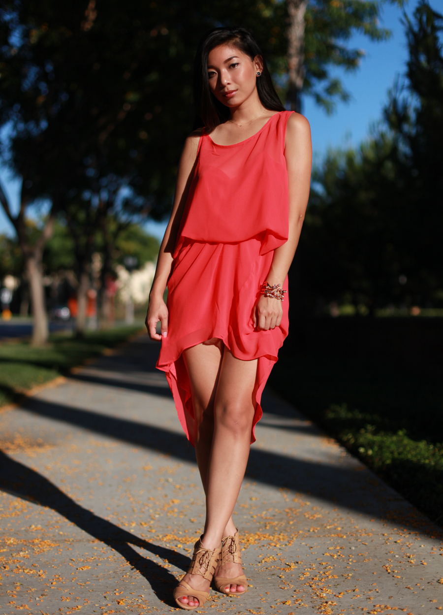 Stephanie Liu wearing LAST NIGHT Coraline Dress, Wildfox Couture coral cuff, and Shoemint Elizabeth heels
