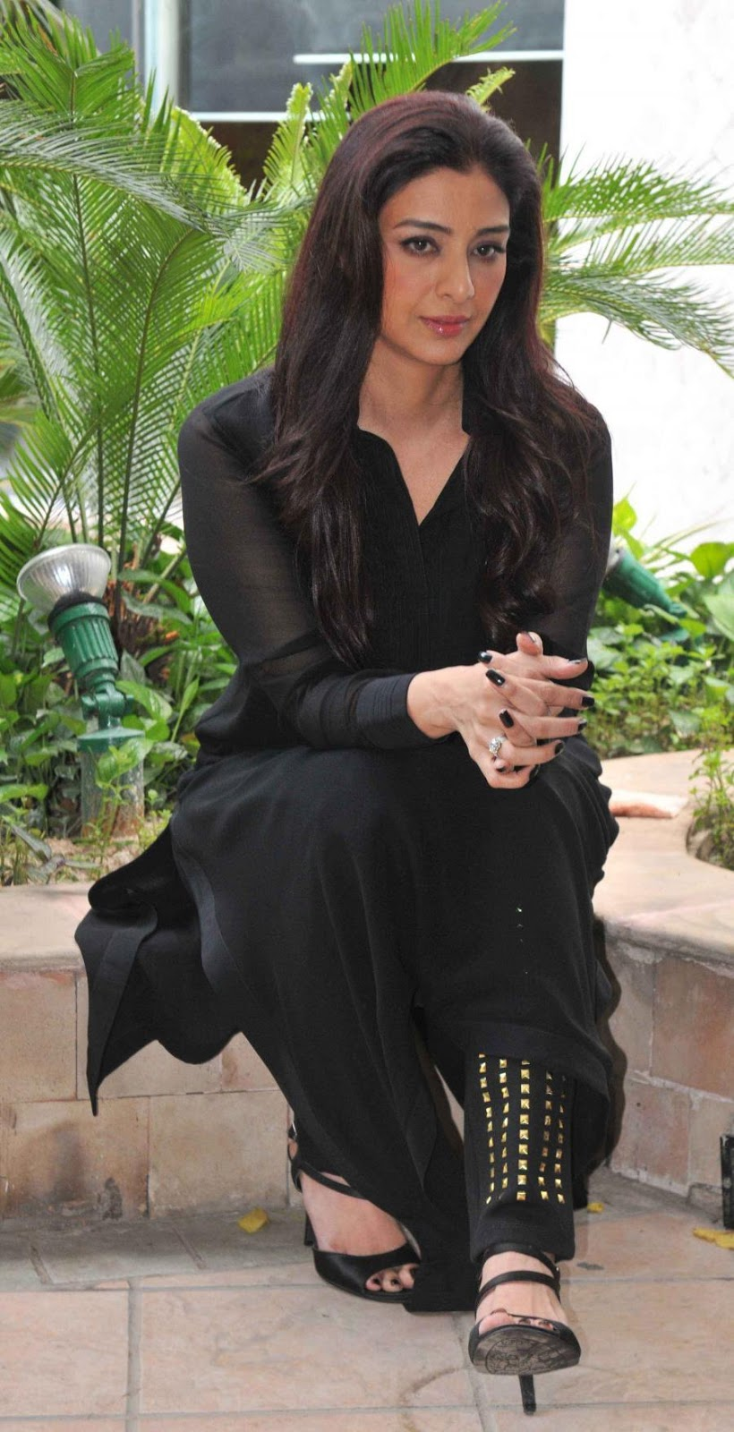 Bollywood Actress Tabu Photos In Black Dress At Film Promotion