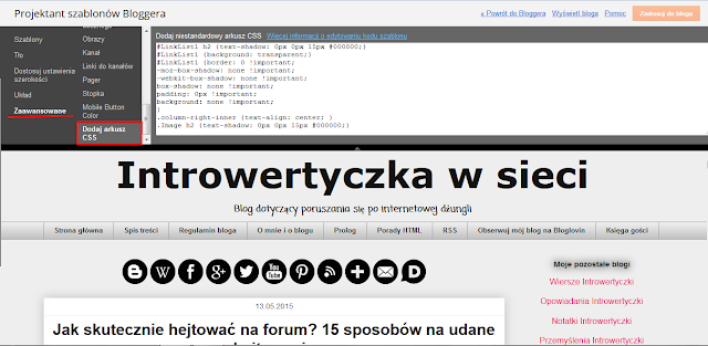 Blogger - Dodaj arkusz CSS