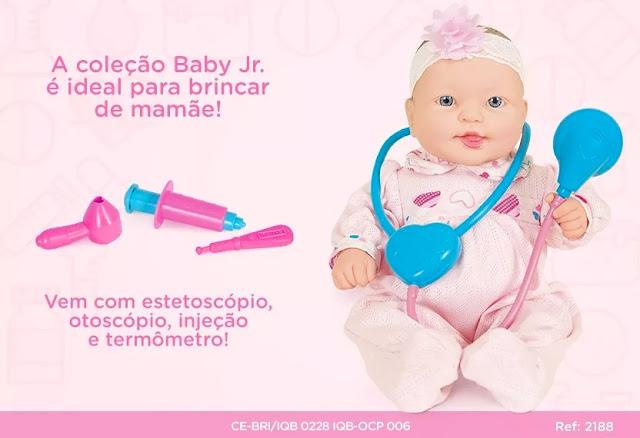 Propaganda da Bebê Dodói da Cotiplás, cheia de instrumentos de médico bem bonitinhos
