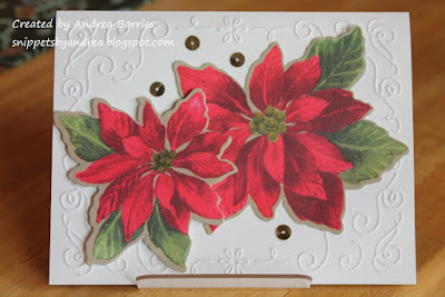 Upcycled Christmas card made with poinsettia die cuts from another card.