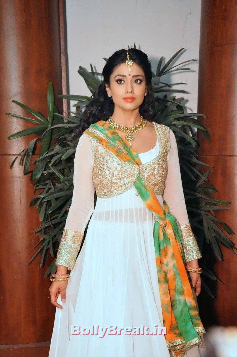 Shriya Saran Photos, Shriya Saran Latest Hot HD Pics in White Anarkali Dress