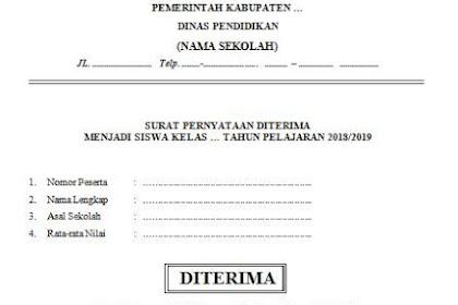 Surat Pernyataan Diterima Menjadi Siswa (Lulus Tes PPDB)