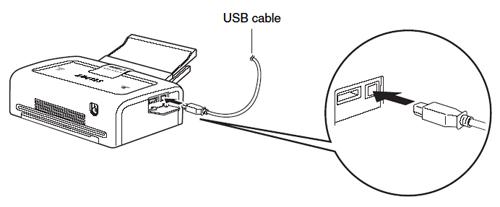 Conexión vía USB desde computadora a impresora.