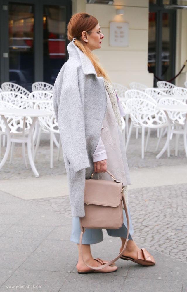 Culotte im Winter kombinieren, Look mit Culotte und Eggshapemantel im Winter