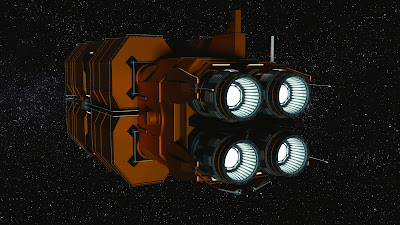 Rear view of spaceship engines