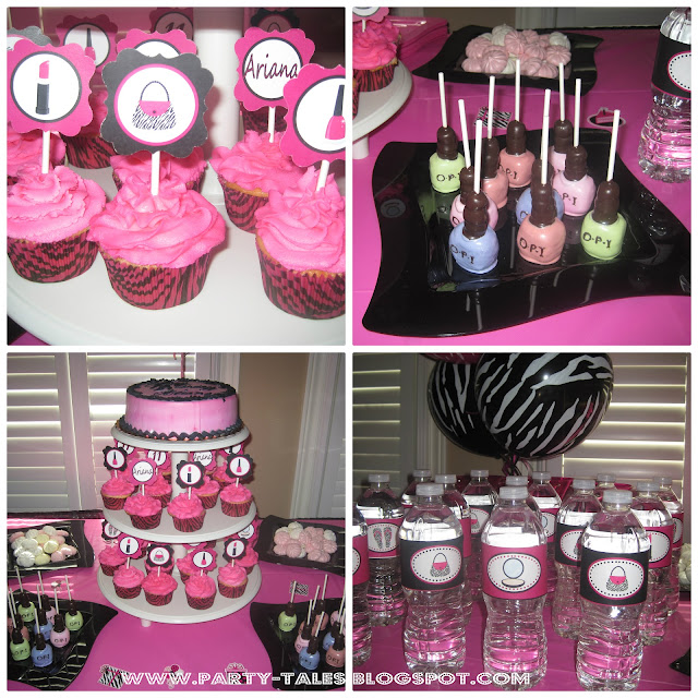 Nail Cake Blue Black Splodges Cow Print: Zebra Print And Hot Pink