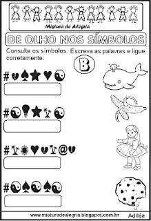 Atividades de alfabetização com símbolos