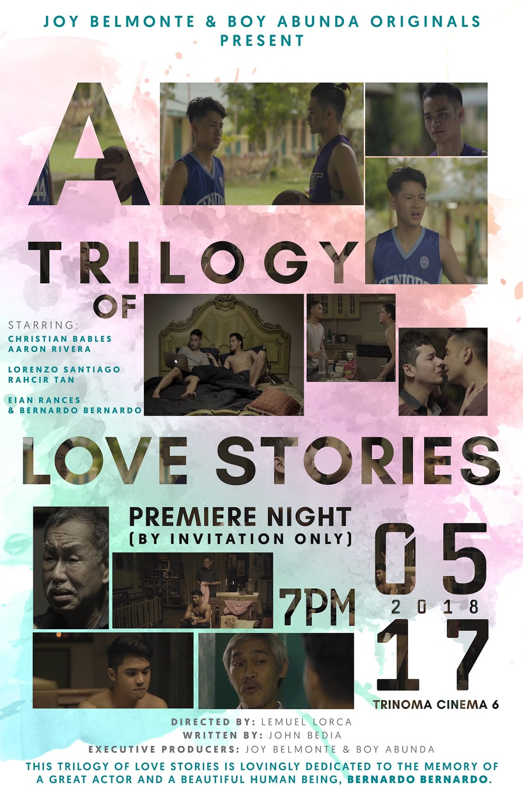 A trilogy of love stories honors bernardo bernardo a trilogy of love stories directed by lemuel lorca and written by john bedia will have its premiere night by invitation only on may 17 7pm at trinoma stopboris Gallery