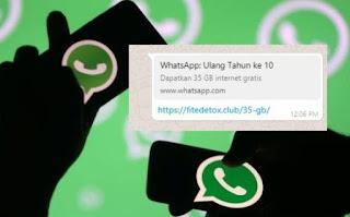 Hati-Hati Jika Menemukan Pesan Berantai Dari WhatsApp Yg Bagi2 Kuota 35GB