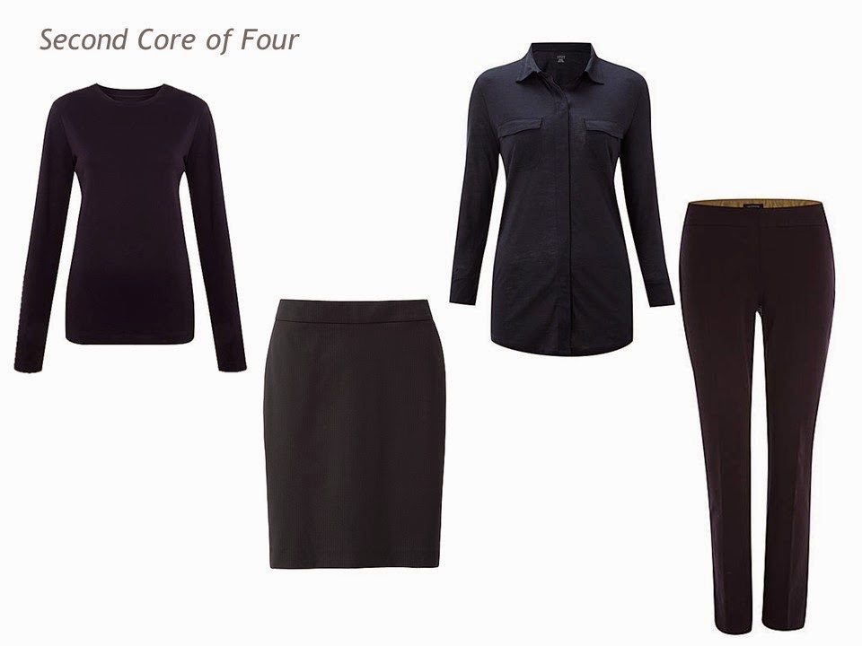 Core of Four navy garments: tee shirt, skirt, silk shirt and twill trousers
