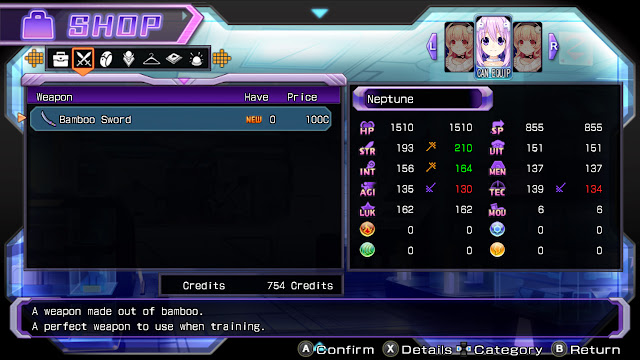 Hyperdimension Neptunia Re;birth1 shop screen