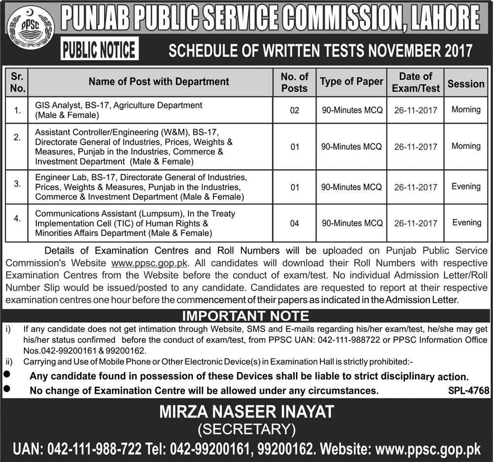 PPSC Jobs in  Punjab Public Service Commission Lahore 24 November 2017