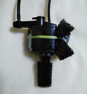 GEXF1フィルターの裏にスポンジを挟み、振動音対策を施した