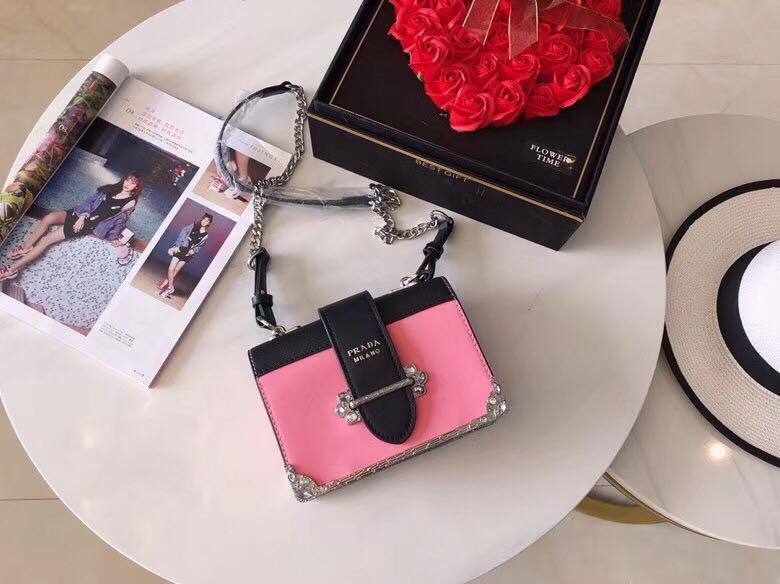 8edf4b532e3c PRADA Leather Studded Cahier Box Handbag Shoulder Chain Sling Bag 🎁