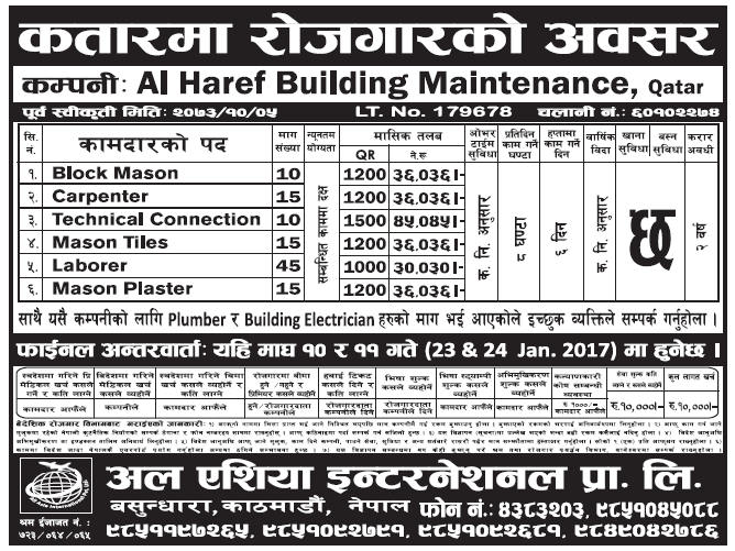 Jobs in Qatar for Nepali, Salary Rs 45,045