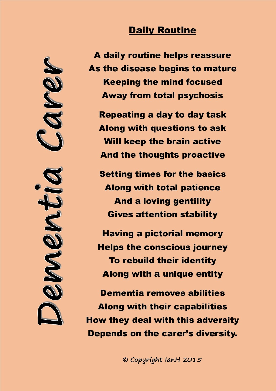 Dementia Carers Poems: Daily Routine