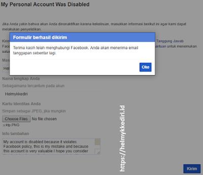 Mengembalikan akun facebook yang dinonaktifkan
