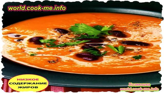 Вегетарианский фасолевый суп с тыквой