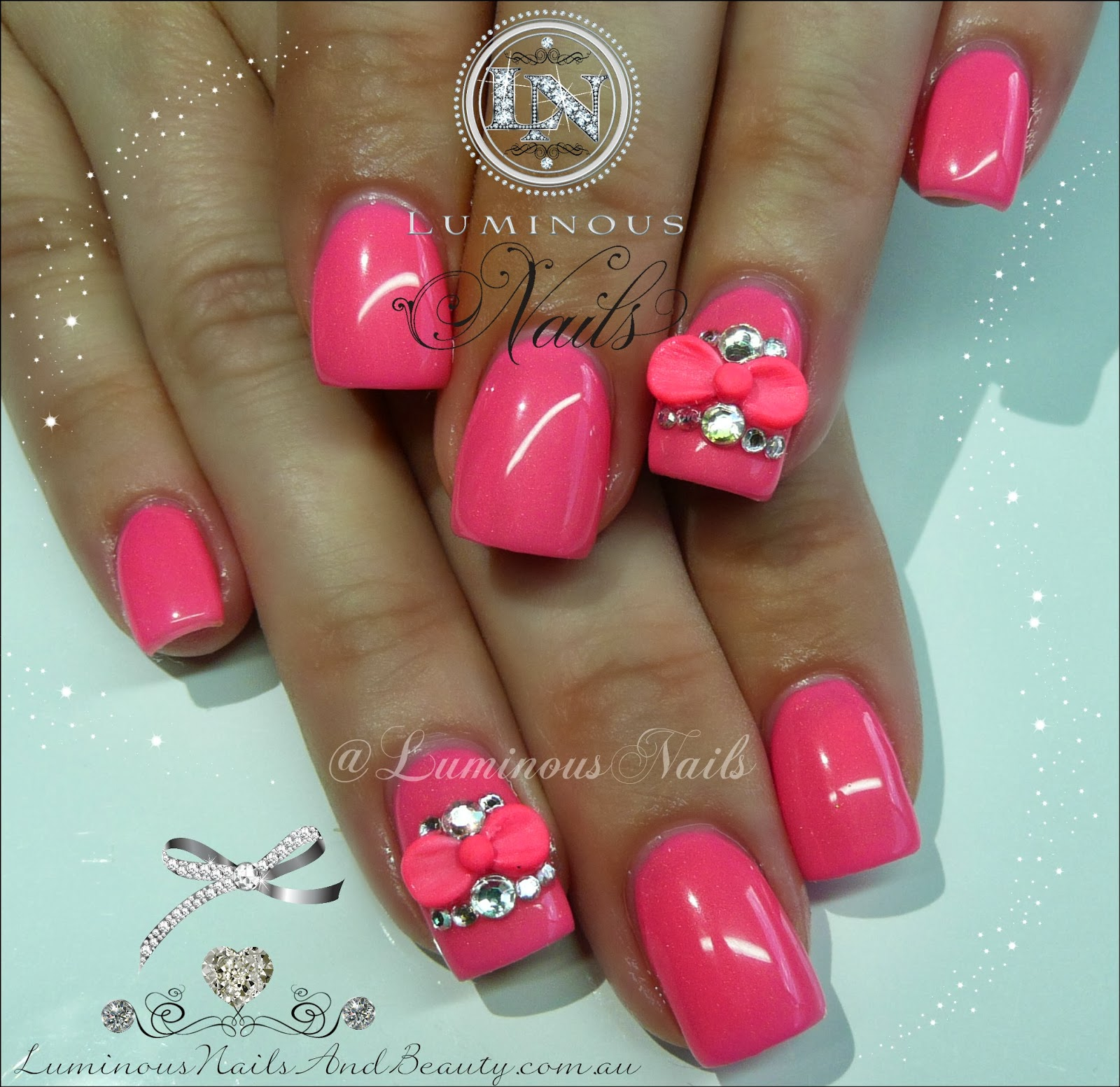 Hot pink french tip acrylic nails