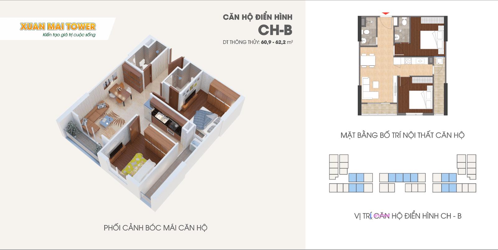 Căn hộ điển hình CH-B chung cư Xuân Mai Thanh Hoá