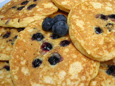 Mollie Katzen's Blueberry & Cornmeal Buttermilk Pancakes