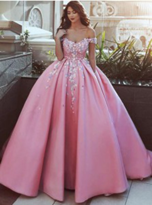 Ball Gown Off-the-Shoulder Pink Satin Prom Dress with Appliques