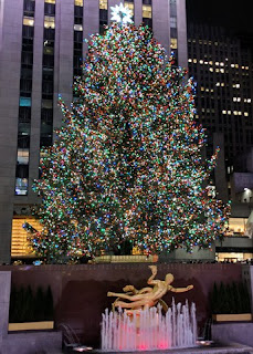 Christmas tree above the Prometheus fountain, Rockefeller Center, New York, New York