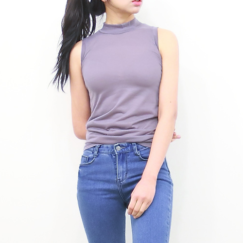 High-Neck Sleeveless Shirt