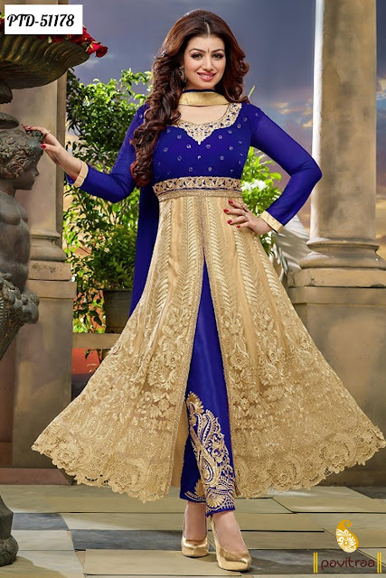 cream blue color bollywood actress heoine Ayesha Takia net Indian designer wedding party wear anarkali salwar suit online 2016