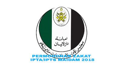 Permohonan Zakat IPTA/IPTS MAIDAM 2018 Online