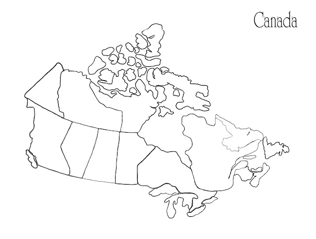 A blank map of Canada for children to colour and add names to the provinces.
